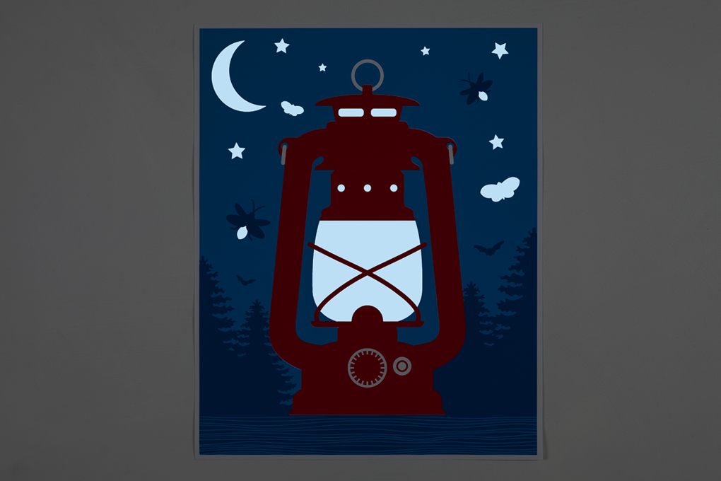 Campfire Nightlight Screen Print (Glow-In-The-Dark) 2 - Crispin Finn
