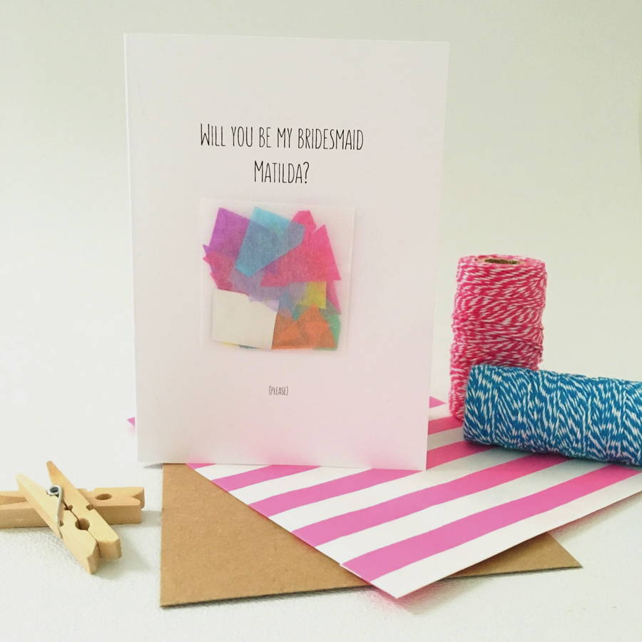 Will you be my bridesmaid card - Pops of colour