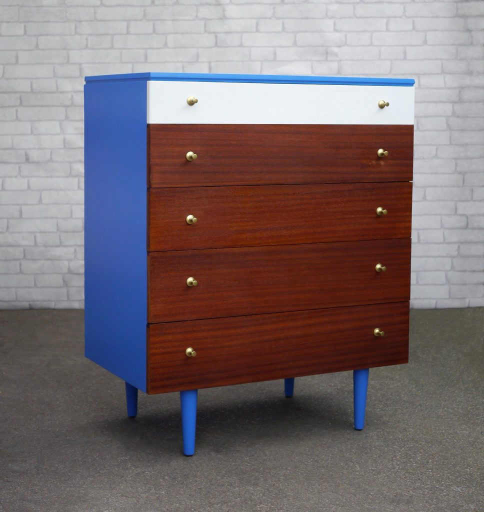 Elizabeth Dot Design - Mid Century Teak Chest of Drawers Painted Bright Blue